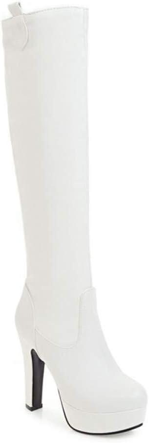الكعب العالي للمرأة Women's Stiletto High Heel Knee High Boots Slouchy Round Toe Thin Heels Platform Riding Boots (Color : White Velvet Lining, Size : 10.5)
