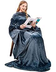 Winthome袖付き毛布 着るブランケット メンズ レディース 着る毛布 ガウン 部屋着 丸洗い ソファー毛布 ツヤツヤな手触り 冷え対策 防寒 保温 (グレー, 幅140cm×身丈200cm)