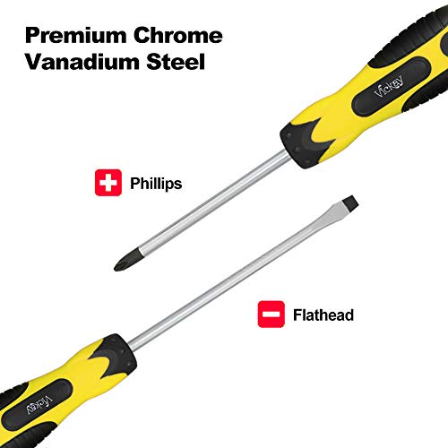 Magnetic Screwdriver Set,5 Pieces Slotted and Phillips Screwdriver with Ergonomic Comfortable Non-skid Handle,Permanent Magnetic Tips,Rust Resistant Heavy Duty Craftsman Toolkit For Oily Hand (Yellow)