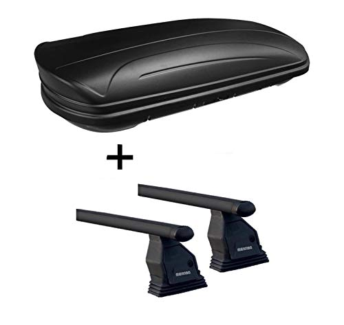 Dachbox VDPMAA320 abschließbar schwarz matt 320 Ltr + Dachträger Menabo Tema kompatibel mit Mercedes B-Klasse W245 2005-2011 Stahl