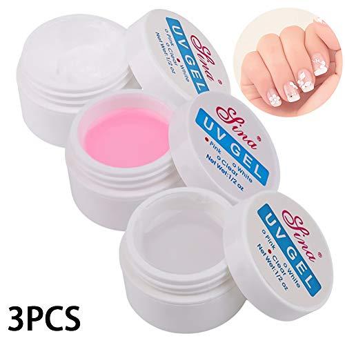 Beito 3 colores Gel de extensión de uñas Uñas Quick Uv Builder Gel Fortalecer gel Uv Nail Art Set de manicura Cristal Gel de mejora para uñas Arte de reconstrucción