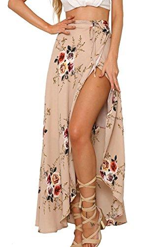 Walant Damen Lang Blumen Röcke Schnürung Elegant Boho Chiffon unregelmäßigen vorne offen Slits Hoher Röcke Maxi Strand Röcke- S, Rosa