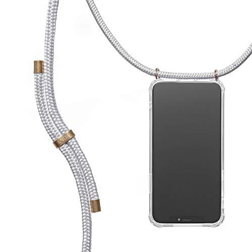 KNOK Handykette Kompatibel mitApple iPhone 6 / 6S- Silikon Hülle mit Band - Handyhülle für Smartphone zum Umhängen - Transparent Case mit Schnur - Schutzhülle mit Kordel in Silver Grau