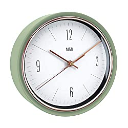 HITO Silent Non Ticking Wall Clock Glass Front Cover Accurate Sweep Movement 9 inch Decorative for Kitchen, Living Room, Bedroom, Office, Classroom (Green)