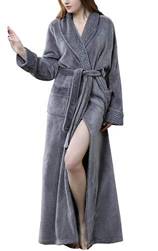 Pronghorn Frauen Waffel Bademantel Leichter Morgenmantel Cashmere Longwear Grau X-Large