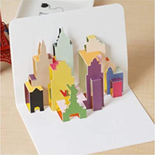 Wenskaarten BLTLYX 5st 3d pop-up gelukkige verjaardag wenskaarten met envelop voor kinderen Verjaardag Festival Kerstcadeaukaart Feest Bruiloft Decor Ambachten 10.5 * 15CM Kasteel als foto