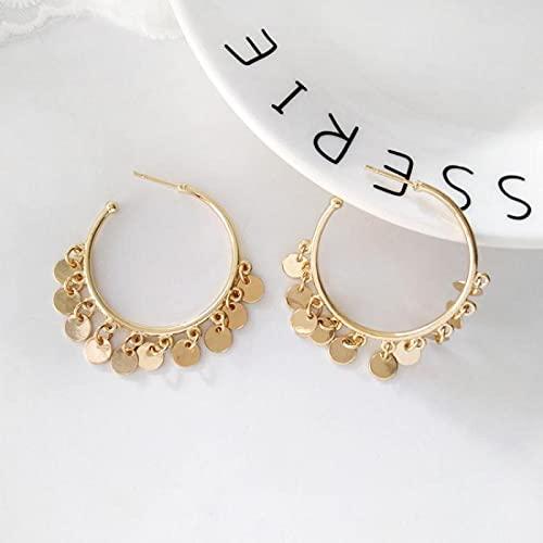 FEARRIN Pendientes Bulk Diseño Trendy Aro Redondo con Discos Pequeños Pendiente Dorado Clásico para Mujer Dorado