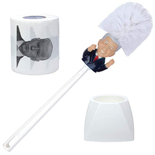 Joe Biden Toilet Paper and Brush With Holder | Funny Political Novelty Gag Gift | Make Your Friends and Family Laugh Out Loud | White Elephant Joke Gift