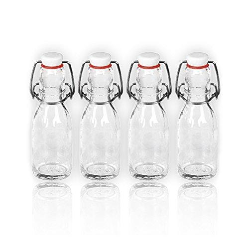 4bouteilles/bouteilles en verre avec bouchon à repasser en porcelaine 100ml/10cl Bouteilles en verre vides à remplir vous-même/abfüllen bouteilles pour huile, eau-de-vie, Rhum etc.