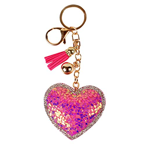 Keychains Key Rings for Women Casual Lovely Heart Shape Pendant Tassel Bright Colorful Sequin Car Keys Chain Housewife Best Gift Evangelia.YM (Hot Pink)