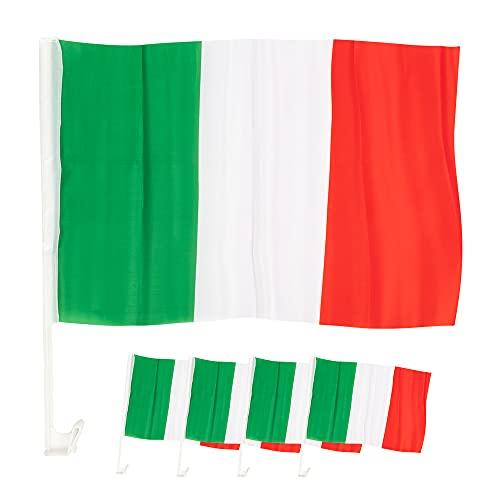 EM Fanartikel 4 x Autofahne Italien – Auto-Fenster Fahne Italia – 45 cm x 30 cm - grün weiß rot