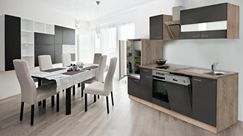 respekta inbouw keuken kitchenette 280 cm eiken Sonoma ruw gezaagd front grijs keramische & designer schuine kap