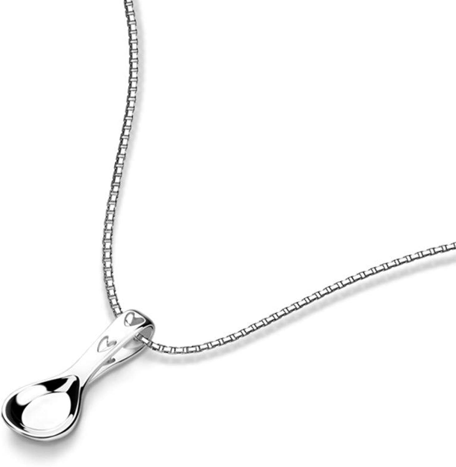 QMM necklace Pendant 100% S925 Sterling Silver Spoon Pendant Necklace Simple Women & Girls Short Silver Chains Jewelry