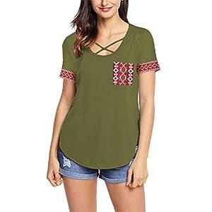 Women's  Patchwork Criss Cross Short Sleeve T Shirt