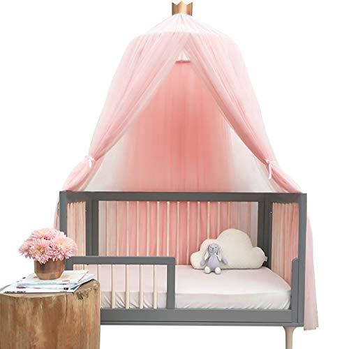 Funkprofi Baby Baldachin Betthimmel, Babybett Chiffon Moskitonetz inkl. Montagematerial, Hängendes Kuppel Mückennetz für Kinderzimmer, Schlafzimmer, Spiel und Lesen Zeit, Baby Insektenschutz (Pink)
