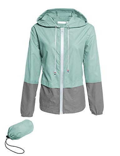 Avoogue Lightweight Raincoat Women's Waterproof Windbreaker Packable Outdoor Hooded Rain Jacket Light Blue M