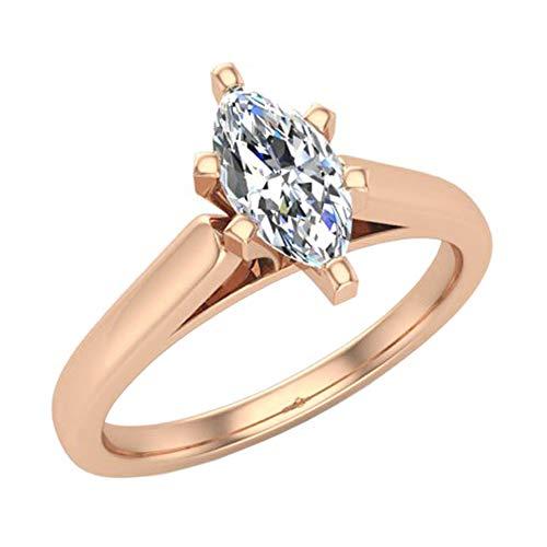 Anillo de compromiso de diamantes de talla marquesa para mujer de oro rosa de 14 quilates de 14 quilates con 6 puntas (color G, claridad VS1) (tamaño del anillo 9,5)
