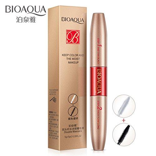 BIOAQUA - Mascara de fibra voluminizadora de doble cabeza, resistente al agua, nutre las pestañas, brochas de maquillaje