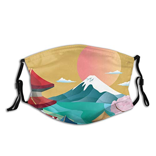 FOURFOOL Face Cover Japan Cloud Spring Mountain Japanese Sky New Sakura Tree Mount Moon Balaclava Unisex Reusable Windproof Mouth Bandanas Outdoor Camping Motorcycle Running Neck Gaiter With 2 Filters