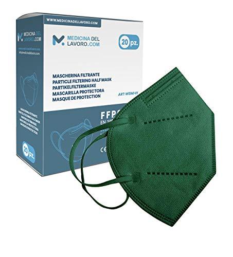 20 FFP2/KN95 Maske Grüns CE Zertifiziert, Medizinische Mask mit 4 Lagige Masken ohne Ventil, Staub- und Partikelschutzmaske, Atemschutzmaske mit Hoher BFE-Filtereffizienz≥ 95 - 20 Stück