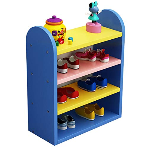 DAGCOT Zapatero Rack de Zapatos for niños Suministros de la habitación Perfecta for niños Rack de Zapatos de 4 Capas 3 Colores for Elegir (Color : Blue)