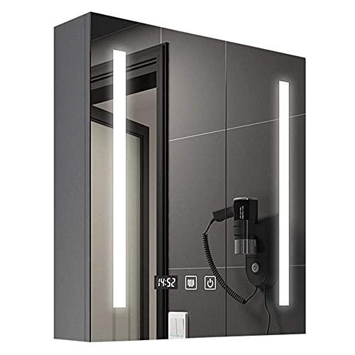 Gabinete de medicina con LED multifunción gabinete de pared con espejo de pared para armario de cocina, organizador de almacenamiento para ahorrar espacio, 68 x 65 cm
