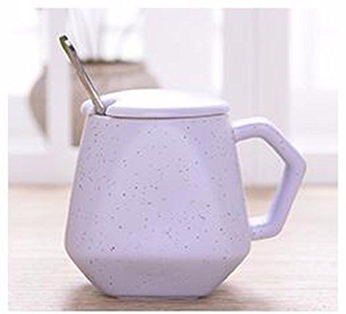 QPSSP Café Coloré Avec La Star Série Ceramic Tasse Tasse De Petit - Déjeuner Tasse De Lait Tasse Diamond Tasse 350Ml Lumière Couverture Bleue Cuillère,H
