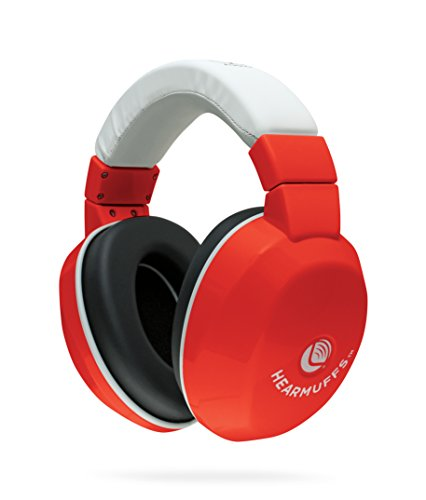 Lucid Audio HearMuffs Kids Hearing Protection Red/White (Over-the-ear Sound Protection Ear Muffs Ages 5+)