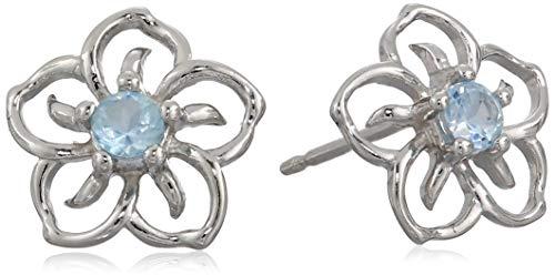 Sterling Silver Genuine Sky Blue Topaz Flower Stud Earrings