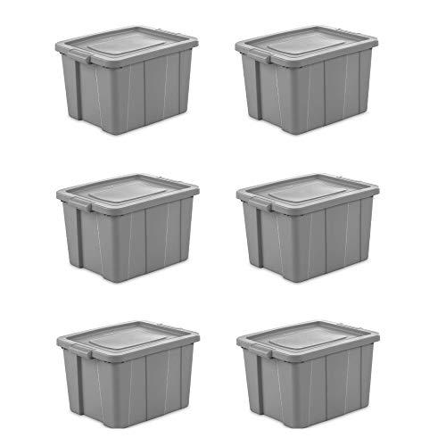 Sterilite Tuff1 18 Gallon Plastic Storage Tote Container Bin w Lid 6 Pack