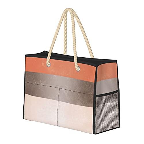 Bolsas de playa para mujer, color gris coral, rayas anchas, bolsa de viaje, bolsa de almacenamiento, bolsa de viaje, bolsa de viaje, bolsa de piscina, bolsa de hombro, para playa, viajes, gimnasio