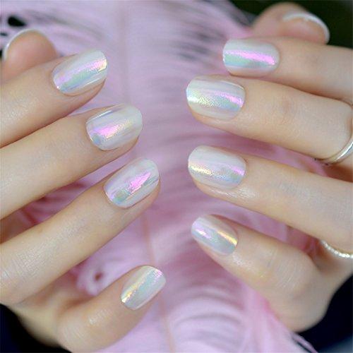 Chrome Holographic Fake Nails Light Pink Mirror Shiny False Nails Finger Full Wrap DIY Nail Tips With Glue Stiker Abalone pink