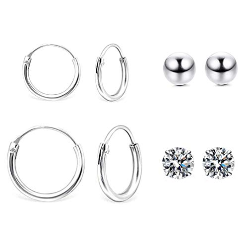 HAISWET Jewellery Set 925 Sterling Silver 10MM 14MM Tiny Endless Hoop Earrings Set 4MM Cartilage CZ Ball Stud Earrings