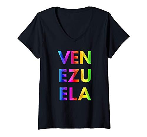 Mujer Venezuela Origami Artístico Colorido Camiseta Cuello V