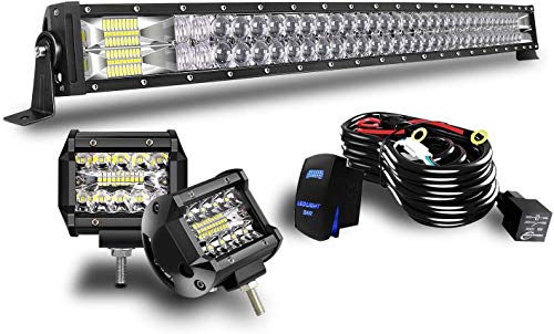 42' Curved LED Light Bar KEENAXIS 240W Upgrade Chipset W/ 2Pcs 4in 60W Driving Fog Lamp with Rocker Switch Wiring Harness for Trucks Offroad Lighting Marine Boating Combo Beam Light Bars Kit
