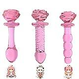Glass Wand Body P1ug Flower Rose 3 Pcs/Set Wand Pink Shape Massager Toys for Women Men Beginners Training