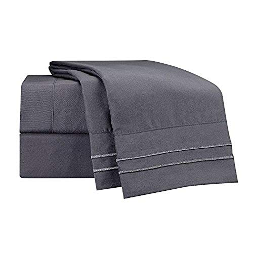 Clara Clark Supreme 1500 Collection 5pc Bed Sheet Set - Split King Size, Charcoal Stone Gray