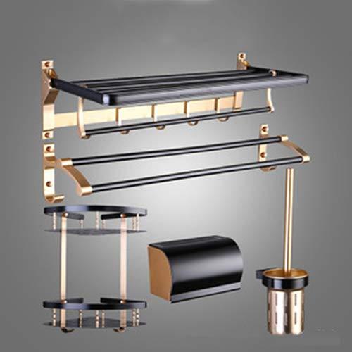 Juego de 6 piezas de aleación de aluminio para baño, estante de baño y toalla plegable serie de toallas de aleación de aluminio, toallero de gel de ducha, toallero de papel, toallero para inodoro