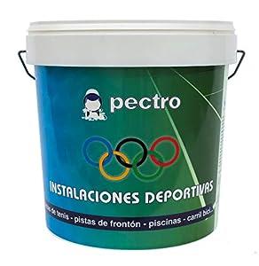 Pintura pistas deportivas PECTRO 5KG Pintura para pavimentos instalaciones deportivas en colores verde rojo gris blanco (Gris)