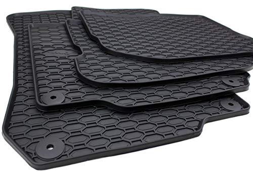 kfzpremiumteile24 Gummimatten Premium Qualität Fußmatten Gummi schwarz 4-teilig rund Druckknopf