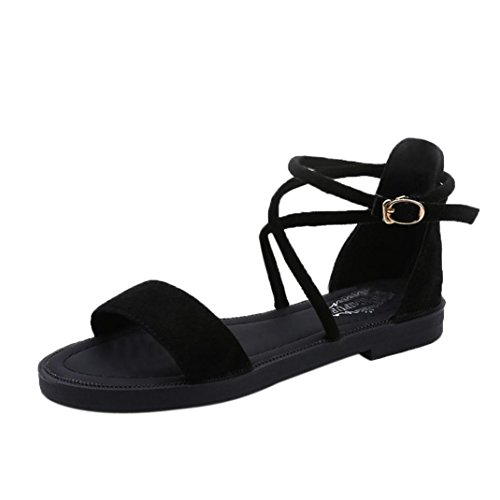 Yesmile Sandalias para Mujer Zapatos Casual de Mujer Sandalias de Verano para Fiesta y Boda Sandalias Planas de Correas Cruzadas Zapatillas de Tacón Zapatos de Bajo Cuña