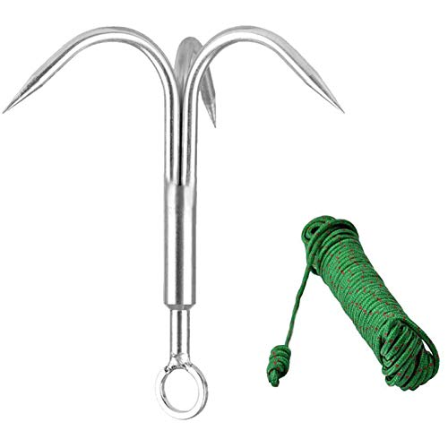 Yiliaw Stainless Steel Outdoor Grappling Hook/Climbing Claw/Gravity Hook/Flying Tigers/Aquatic Anchor Hook for Your Outdoor Life+Safety Rope