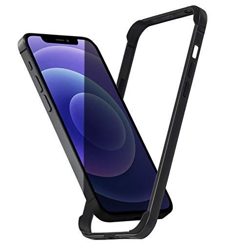 Arktis Hülle kompatibel mit iPhone 12 Mini, AirZero Alu Bumper Rahmen - Schwarz kabelloses Laden möglich Aluminium ultradünn federleicht