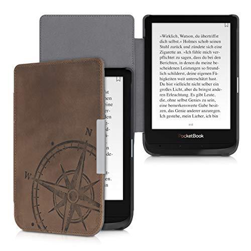 kalibri Hülle kompatibel mit Pocketbook Touch Lux 4/Basic Lux 2/Touch HD 3 - Leder eBook eReader Schutzhülle Cover Case - Kompass Vintage Braun