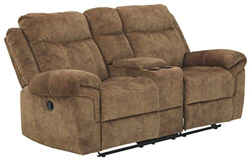 Signature Design by Ashley - Huddle-Up Casual Upholstered Glider Reclining Loveseat - Console - Brown