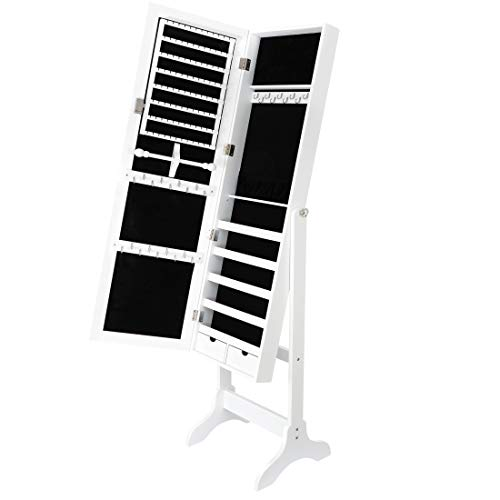 SUPER DEAL 2in1 Free Standing Jewelry Cabinet Lockable Full-Length Mirrored Jewelry Armoire with 5 Shelves Large Storage Capacity Organizer, 4 Angles Adjustable (White)
