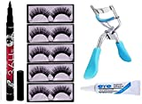 ClubComfort® false eyelash 5 pair, eyelash curler, eyelash glue, pen eyeliner Pack of 8