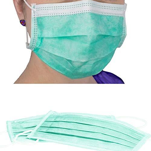 50x Mundschutz, Türkis OP Grün, 3-lagig, Einweg OP Vlies Maske mit Elastikband, anwendbar für Erwachsene & Kinder gegen Schmierinfektionen, Viren & Bakterien, mit Nasenbügel, latexfrei