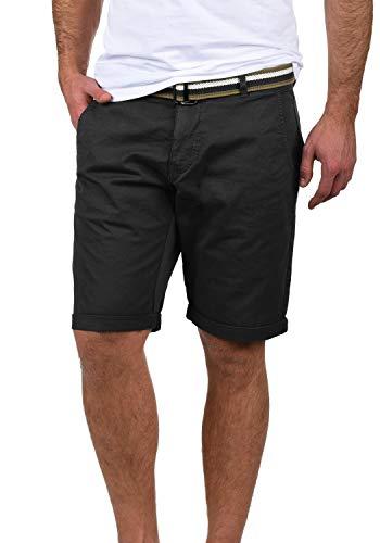 Blend Bruno Herren Chino Shorts Bermuda Kurze Hose Mit Gürtel Regular Fit, Größe:M, Farbe:Black (70155)