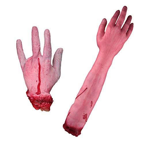 WINOMO 2Pcs Halloween Haunters Gefälschte Blutige Abgetrennte Menschliche Körperteile Stütze Dekoration Beängstigend Realistisch Gebrochen Ausgesetzt Knochen Hände Arme Zombie Spukhaus